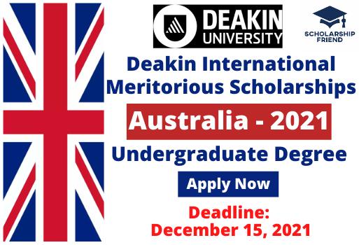 Deakin International Meritorious Scholarships At Deakin University Australia 2021 - Scholarship Friend - Undergraduate 1