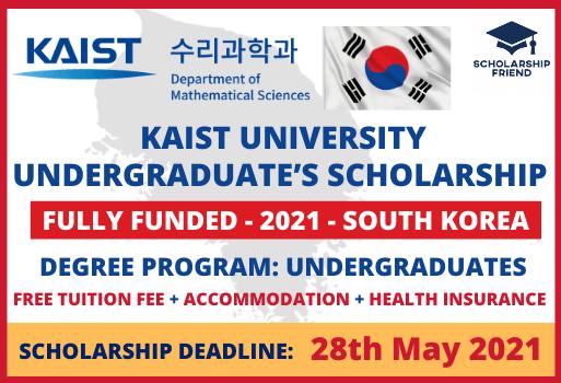 KAIST University Undergraduate's Scholarship in South Korea Full Funded 2021 - Scholarship Friend (1)