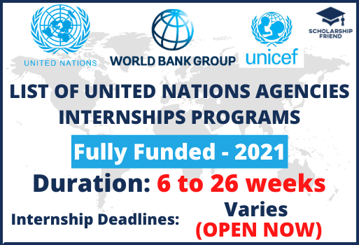 List of United Nations Agencies Internships-Fully Funded-2021-Scholarship Friend