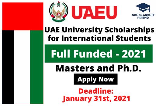 UAE University Scholarships for International - UAE - 2021 - Scholarship Friend Thumbnail - masters and Ph.d