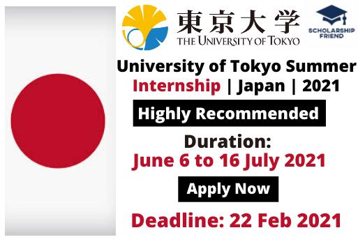 University of Tokyo Summer Internship - Japan - 2021 - Scholarship Friend - International Internships (1)